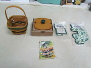 1999 Longaberger Lots Of Luck Basket Combo With Wooden Lid And Handle Tie - New