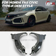 For Honda Civic Fk8 Tyr Oe Carbon Glossy Front Fender Mudguards Kit