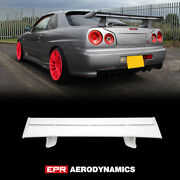 Oe Style Rear Spoiler Wing With Blade + Caps + Stand For Nissan R34 Skyline Gtr