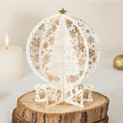 3d Pop Up Christmas Greeting Card Laser Cut Santa Red Gold Cards With Envelope