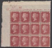 Sg 43 Great Britain 1864-79. One Penny Red Plate 130 Upper Left Side Block Of...