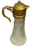 Vintage Wine Water Decanter, Pressed Glass Brass Plated Home Decor 15in Tall