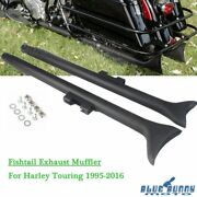Dual 36 Fishtail Slip On Mufflers Exhaust Pipes For Harley Touring Cvo 95-16