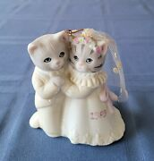 Vintage 1987 Schmid Kitty Cucumber Bride And Groom Ornament Figurine Double Date