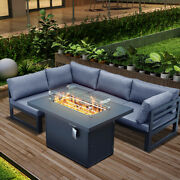 Outdoor Patio Sectional Set Furniture Backyard W/fire Pit Table 4 Seat Chairs Us