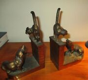 Jennings Brothers Cat Dog House Home Bookend Sculpture Dachshund Vintage