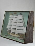19th Century French Model Boat Presented In Glass And Timber Case 21¼ X 15¼