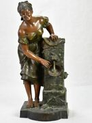 Early Twentieth Century Metal Sculpture Of A Lady At A Fountain 30¼