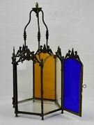 Large 19th Century French Lantern With Original Glass - Clear Red Blue Yellow