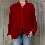 Coldwater Creek 2x Size Blouse Womens Red Velour Top Casual Soft Plus Shirt