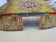 Vintage 1950's Marx Super Circus Tent With 2 Side Shows And 18 Figures No Flags
