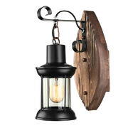 Farmhouse Wall Light Fixture Sconce Vintage Industrial Rustic Wood Wall Lamp