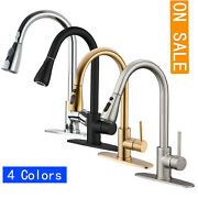 Commercial Kitchen Sink Faucet Pull Out W/ Sprayer Head Single Handle Mixer Tap