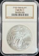 2001 American Eagle 1 Troy Oz Silver Coin Ngc Ms 70