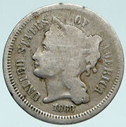 1868 Usa United States Liberty Antique Old 3 Cent Nickel Coin I89380