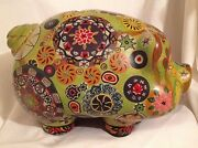 Vintage Mexican Pottery Piggy Bank Psychedelic Painted Hippie Retro Flower Art