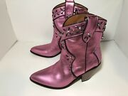 Coach Pink Studded [western Bootie With Prairie Rivets] Ankle Boots Us Size 7