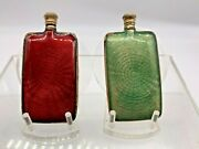 Art Deco Pair Of Green And Ruby Guilloche Enamel And Brass Perfume Scent Bottles