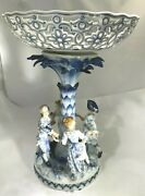 19thc Meissen Figural Large Centerpiece Tazza With Four Dancers Around Tree