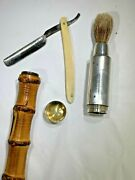 Antique 1880's French Gustave Keller Bamboo And Silver Shaving Kit Walking Stick