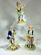 Three Antique Capodimonte Italy Grouping Figurines Of Girl And Two Boys Feeding