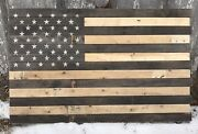 Reclaimed Pallet American Flag Hanging Wall Art 42 Wide X 26 Tall Natural