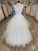Blush By Hayley Paige Wedding Dress Pepper Ivory Size 10 Beaded Ruffle Ballgown