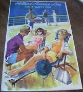 Vintage 1960 Holland America Cruise Line Travel Poster By Rien Poortvliet
