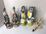 Lot Of 4 Looney Tunes, Snow White, Tom And Jerry Bubble Bath / Shampoo Bottles