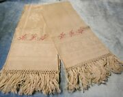 Antique Pair Linen Damask Fringed Show Towels Red Aln Monogram Never Used