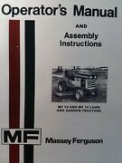 Massey Ferguson Mf 14 And 16 Riding Lawn Garden Tractor And Mower Imp Owners Manual