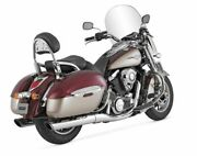 Twin Slash Staggered Exhaust For Kawasaki Vn1700 Vulcan Nomad 2009-2013 Chrome