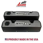 Ford Boss 302 Valve Covers Black - 351 Cleveland Finned Styling - Ansen Usa