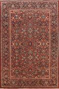 Antique Vegetable Dye Mahal Floral Area Rug Hand-knotted Oriental Carpet 10and039x14and039