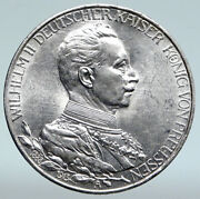 1913 A Germany German States Prussia Wilhelm Ii Antique Silver 3mark Coin I89444
