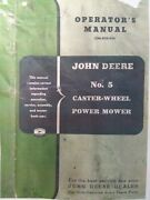 John Deere Tractor No. 5 Caster Wheel Sickle Mower Owner And Maintenance Manual