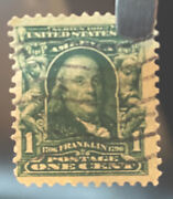 Series 1902 Benjamin Franklin 1 Cent Green Stamp 119 Years Old