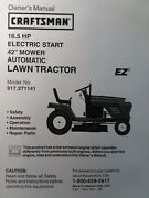 Craftsman 16.5/42 Tractor Owner And Parts And Engine Service 2 Manuals 917.271141