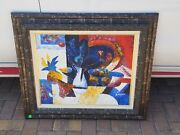 Emanuel Glicen E. Romano One Of A Kind Original Abstract Oil Painting 33 X 30