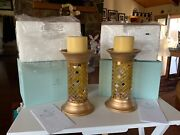 """Set Of 2 New In Box Partylite Gold Mosaic Global Fusion 9"""" Columns W/2 Candles"""