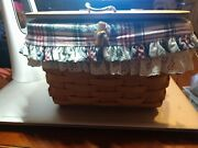 Vintage Longaberger 1992 Small Purse Basket W/leather Hinged Lid And Handle 2liner
