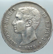 1876 Spain W King Alfonso Xii Antique Old Spanish Silver 5 Pesetas Coin I89191