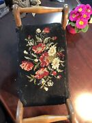 Antique Needlepoint Floral Foot Stool / Small Bench 16 X6