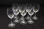 Vintage Lot Of 8 Crystal Goblet / Wine Glass 7 Tall With Unique Stems