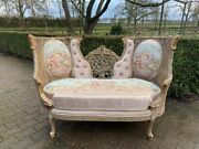 Unique French Louis Xvi Style Love Seat Trianon Green- Worldwide Shipping