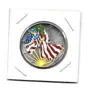 1990 Walking Liberty 1 Ounce Silver Dollar With Painted Liberty Blue Headwear