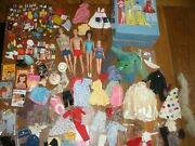 Large Lot Of Vintage Barbie Dolls Clothes Case Food Dishes Record Books 50-60's