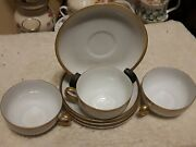 Antique O.e.andg Austrian 3 Tea Cups And 4 Saucers Excellent Condition Full Sized