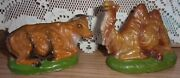 Vntg Nativity Manger Animals Cow Camel Paper Mache Hand Painted Italy 5 Vguc