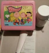 Vintage Peanuts University Snoopy Pink Plastic Lunch Box W/ Thermos